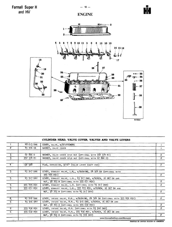 Farmall Super H Parts Manual Catalog